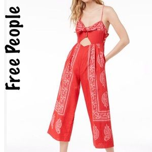 Free People Feel the Sun cutout Jumpsuit red